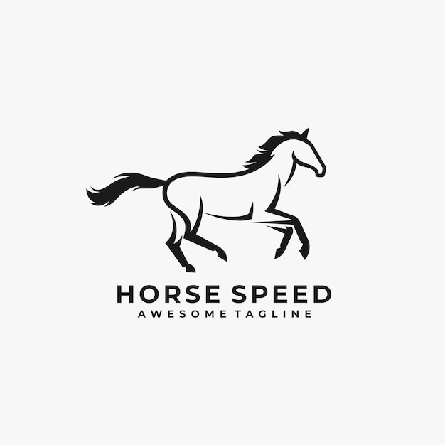 Horse speed abstract logo design illustration Premium Vector