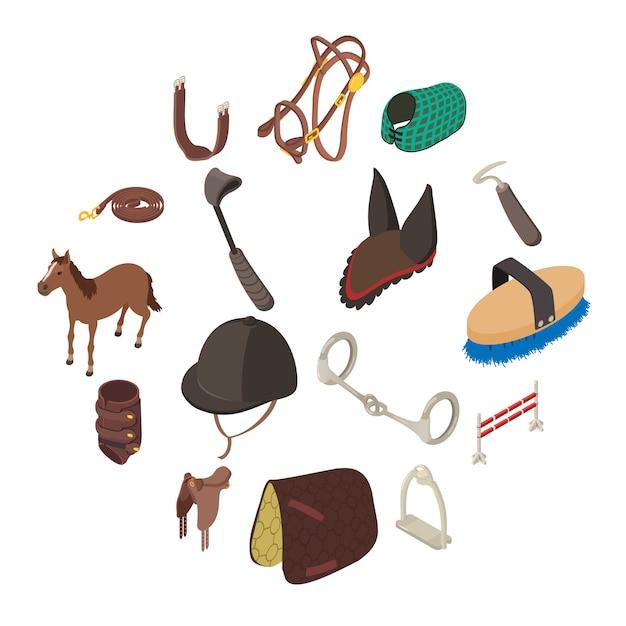 Horse sport equipment icons set, isometric style Premium Vector