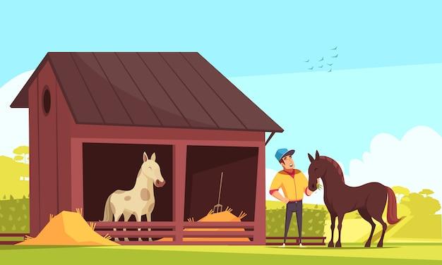 馬の馬小屋と種牡馬の給餌 無料ベクター