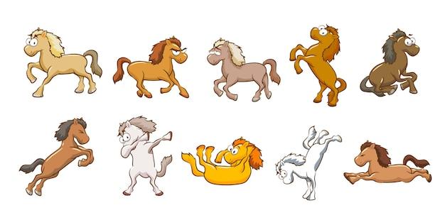 Коллекция векторных лошадей Premium векторы