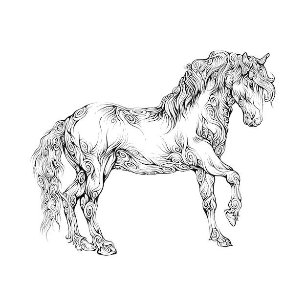 Horse walking in hand drawing ornament Premium Vector