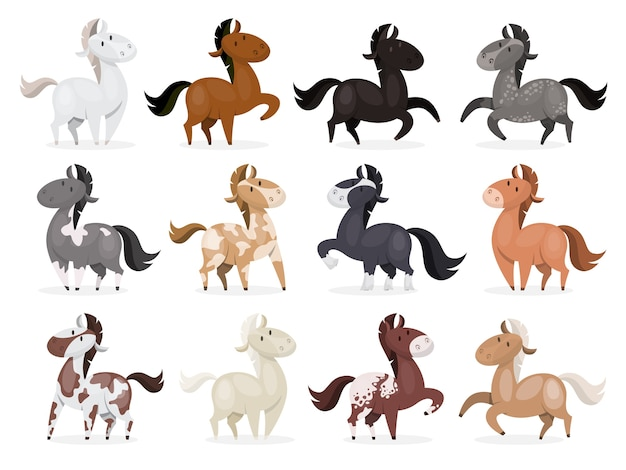Horse wild or domestic animal set . collection Premium Vector