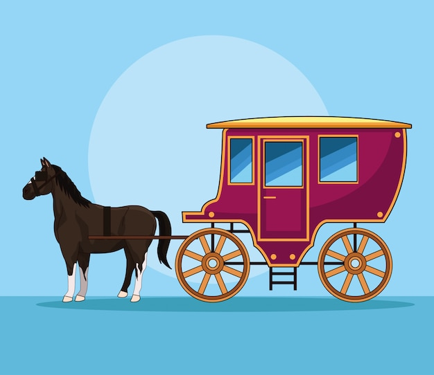 Horse with antique carriage vehicle Premium Vector
