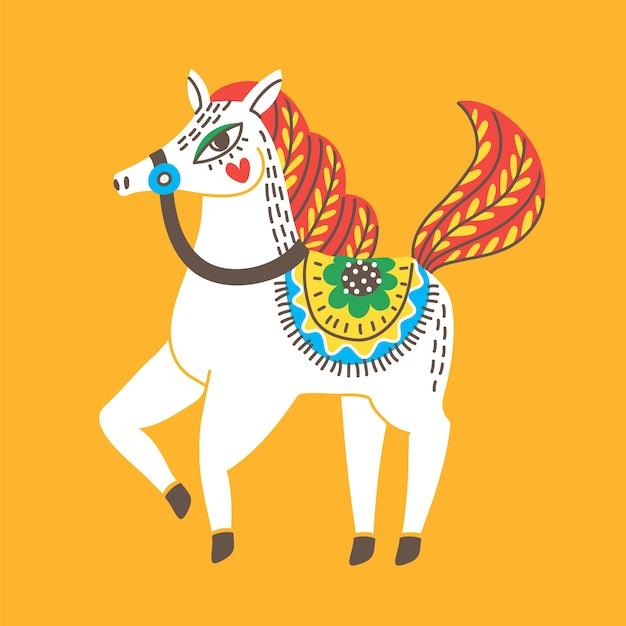 民俗花飾りの馬。 Premiumベクター