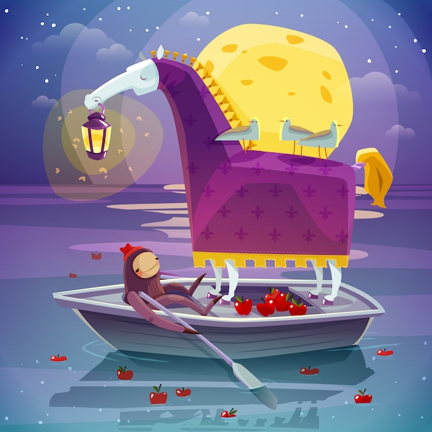 Horse with lantern surreal dream illustration Free Vector