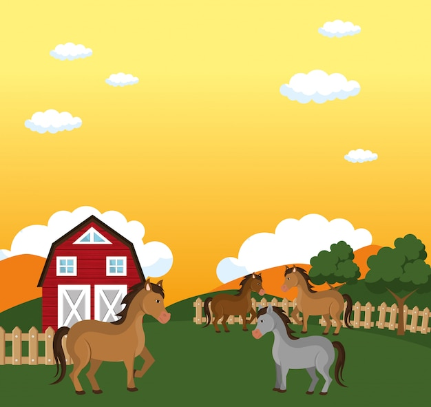 Horses in the farm scene Free Vector