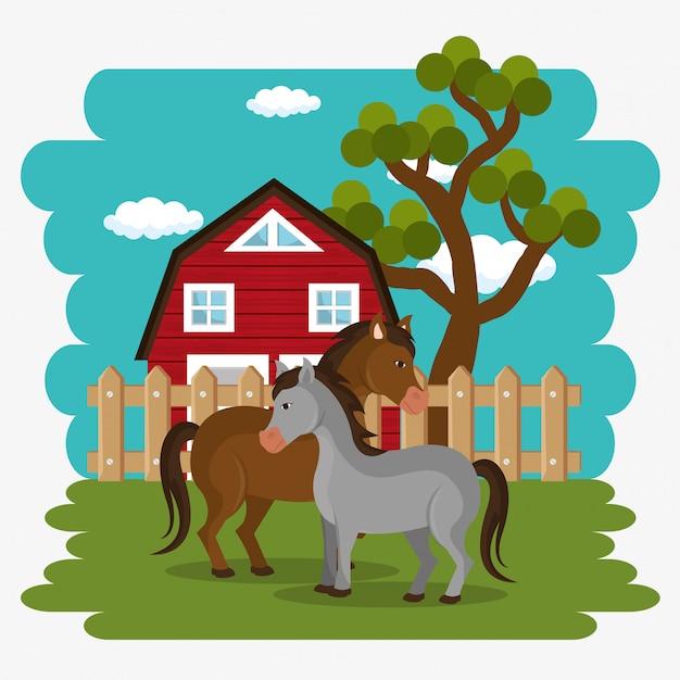 Horses in the farm scene Free Vector