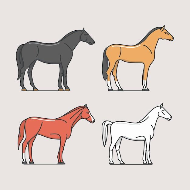 Лошади, иллюстрация Premium векторы