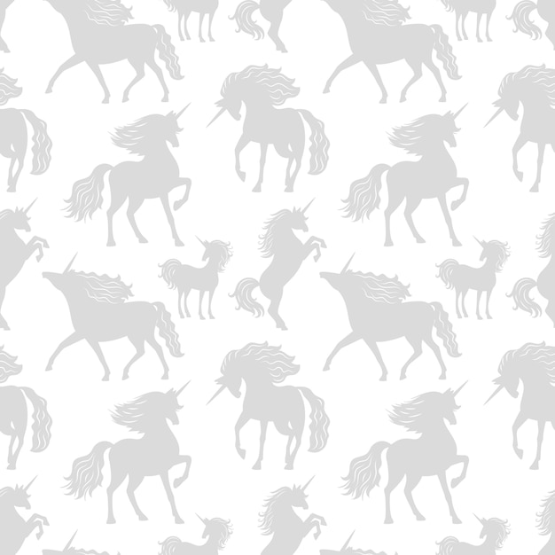 Horses unicors gray silhouettes seamless pattern Premium Vector
