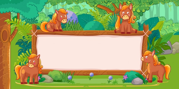 Horses with a blank sign wood in the jungle Premium Vector