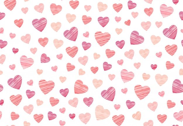Hosiery heart seamless pattern in embroidery  on the white background. Premium Vector