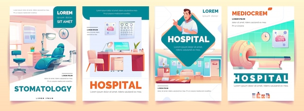 Hospital banners poster for clinic advertising set Free Vector