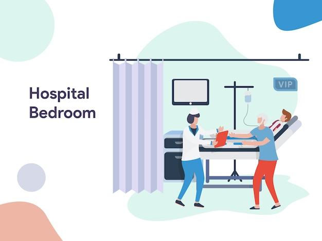 Hospital bedroom illustration Premium Vector