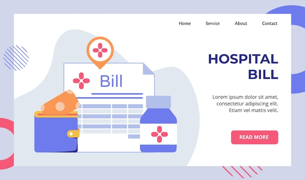Hospital bill service charge background of money put wallet bottle drugs campaign for web website home homepage landing page Premium Vector
