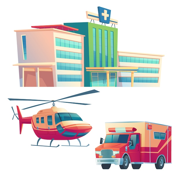 Здание больницы, машина скорой помощи и вертолет Бесплатные векторы