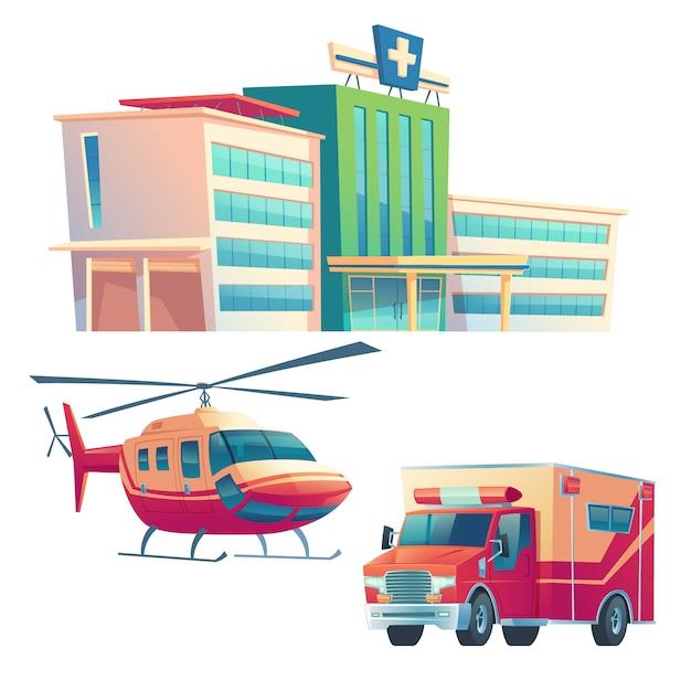 Edificio dell'ospedale, auto ambulanza ed elicottero Vettore gratuito