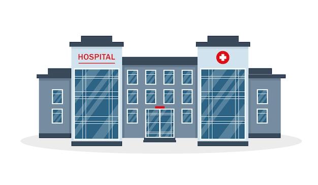 Здание больницы, изолированные на белом фоне. Premium векторы