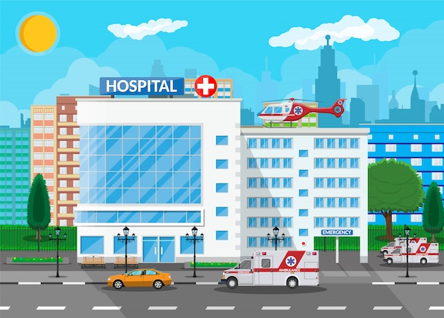 Hospital building, medical icon. Premium Vector