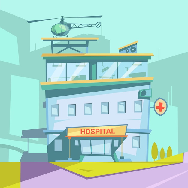 Hospital building retro cartoon with helicopter and transparent windows vector illustration Free Vector
