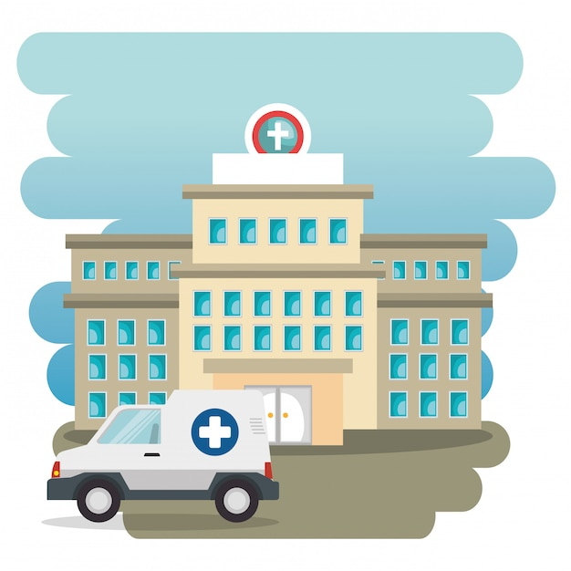 Hospital building with ambulance Free Vector
