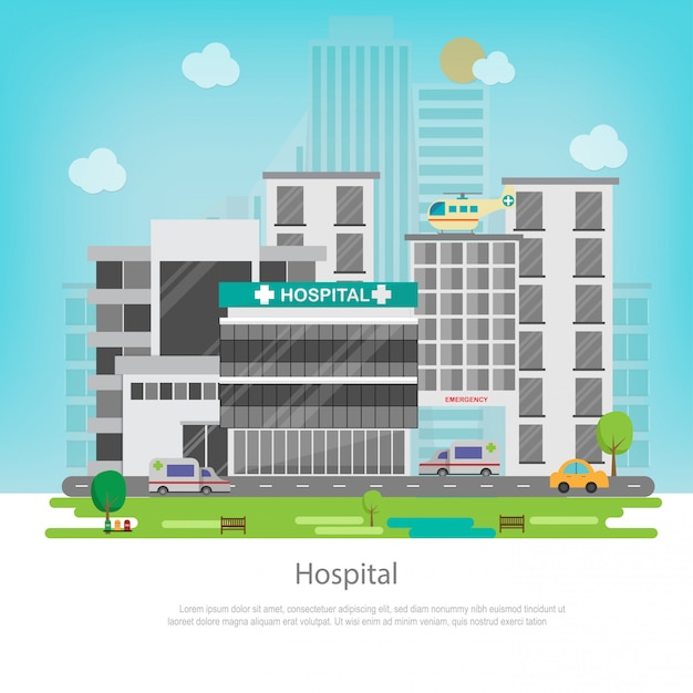 Hospital building with cityscape. medical and healthcare concept. Premium Vector