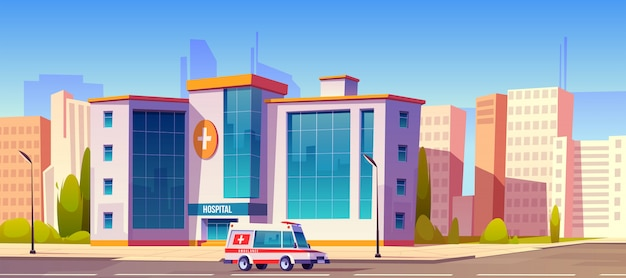 Hospital clinic building with ambulance car truck Free Vector
