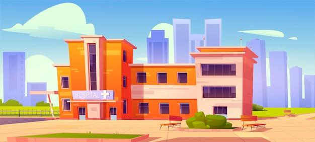 Здание поликлиники с зелеными кустами и скамейками во дворе. медицина, инфраструктура городского лазарета, двухэтажный кабинет медика на фоне городского пейзажа, иллюстрации шаржа Бесплатные векторы