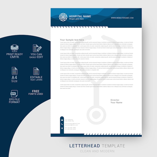 hospital-corporate-letterhead-template_74097-53 Vintage Hospital Letterhead Templates on for word free, find free, cleaning company, graphic design, monogram personal,