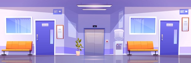 Hospital corridor interior, medical clinic hall Free Vector