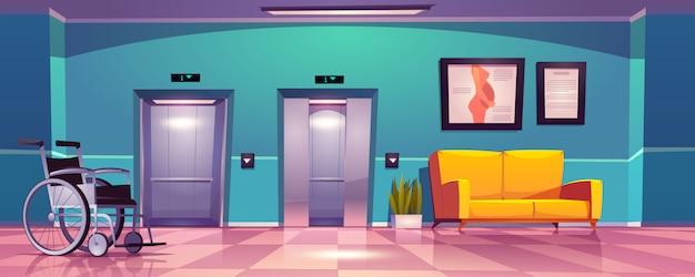 Коридор больницы с открытыми дверями лифта, желтым диваном и инвалидной коляской. Бесплатные векторы