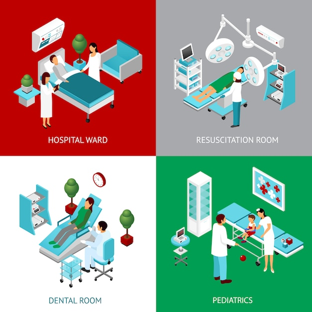 Hospital departments 4 isometricicons square Free Vector