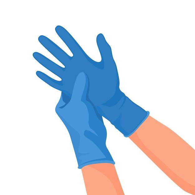 Врач больницы в медицинских латексных перчатках на руках. Premium векторы