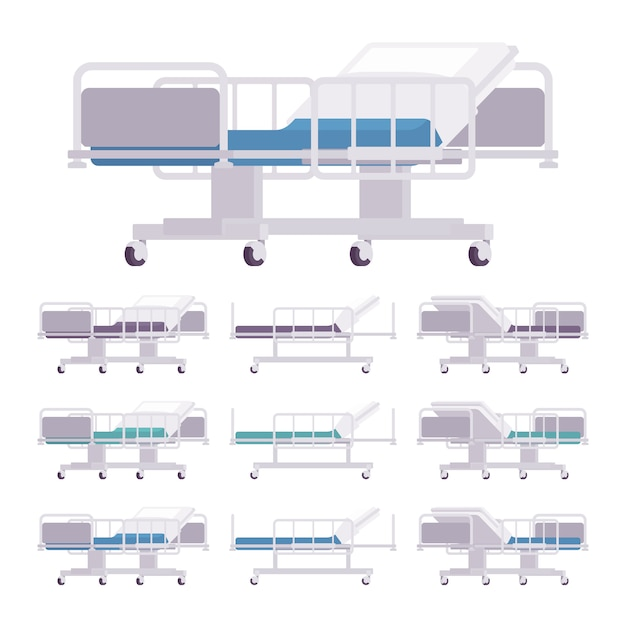 Hospital examination couch set Premium Vector