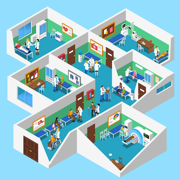 Hospital facilities interior isometric view poster Free Vector
