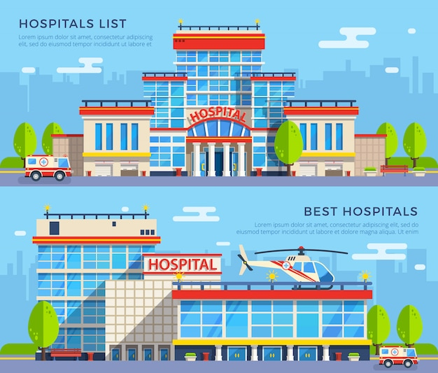 Hospital flat banners Free Vector