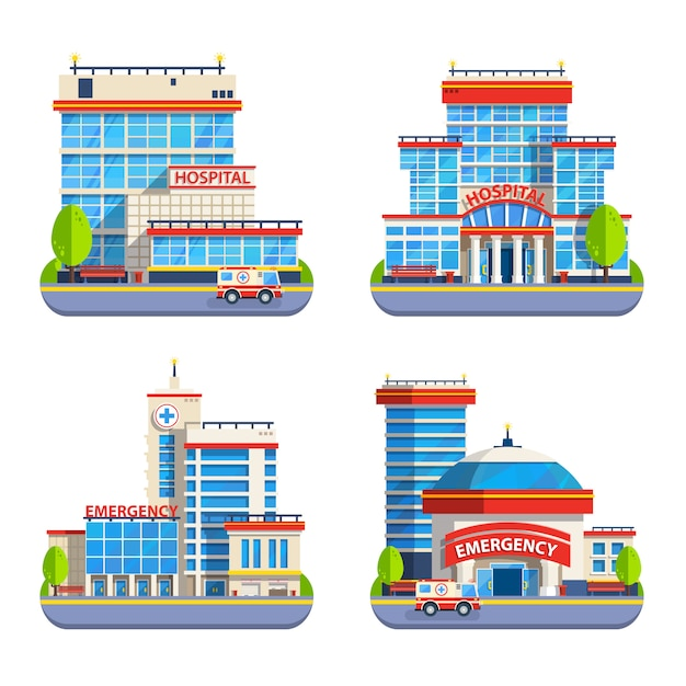 Hospital flat isolated icons Free Vector