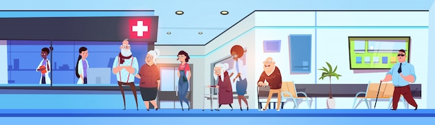 Hospital hall interior patients and doctors in clinic waiting room horizontal banner Premium Vector
