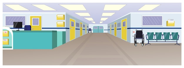 Hospital hall with reception, doors in corridor and chairs Free Vector