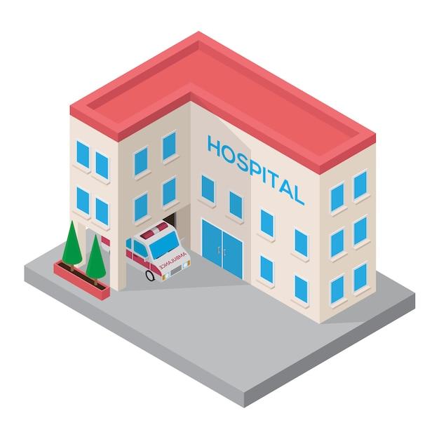 Hospital isometric 3d building with ambulance car isometric Premium Vector