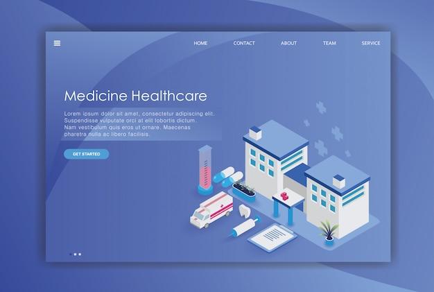 Hospital isometric design of landing page tempalte Premium Vector
