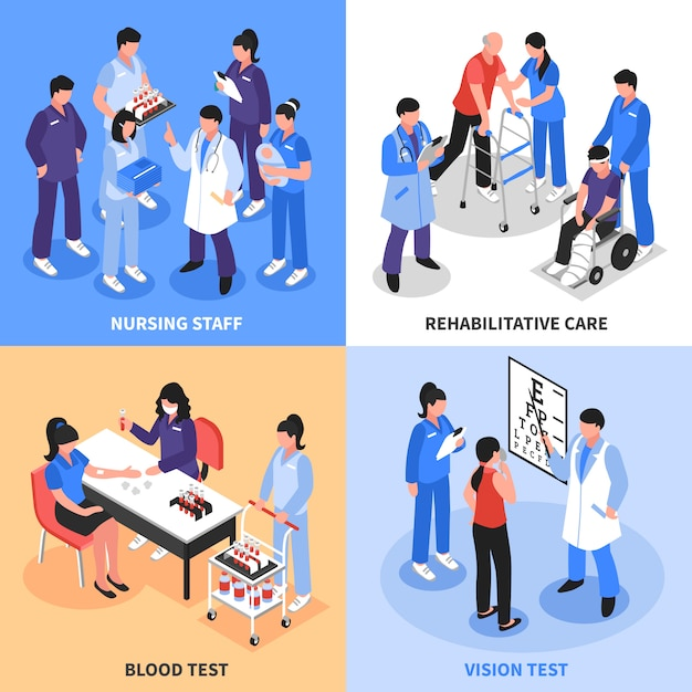 Hospital isometric icons concept Free Vector