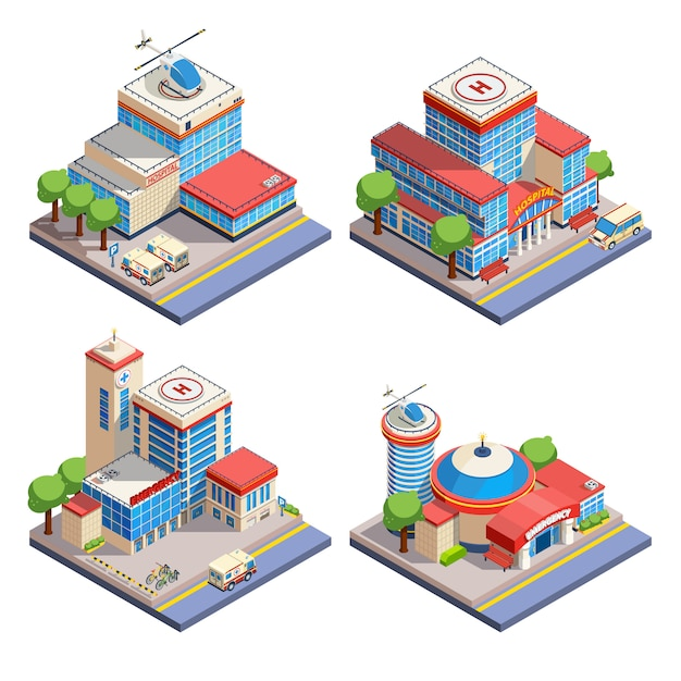Hospital isometric icons set Free Vector