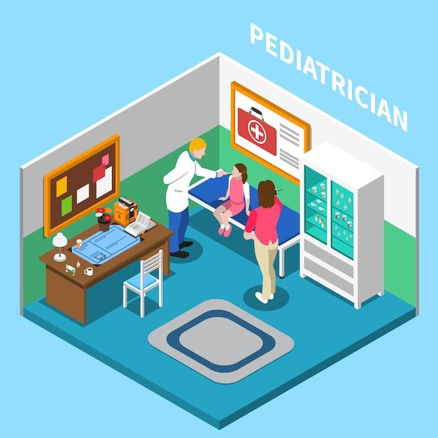 Изометрическая композиция интерьера больницы с внутренним видом кабинета педиатра в клинике с людьми и мебелью Бесплатные векторы