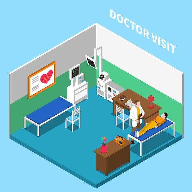 Больница изометрическая интерьерная композиция с текстом и внутренним декорацией кабинета врача с оборудованием и мебелью Бесплатные векторы