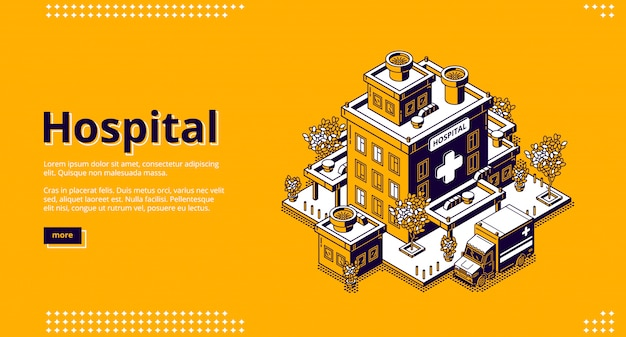 Hospital isometric landing page. clinic building Free Vector