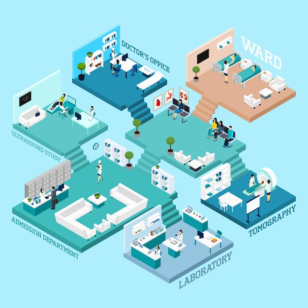 Hospital isometric scheme icons Free Vector