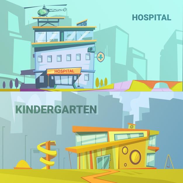 Hospital and kindergarten building retro cartoon Free Vector