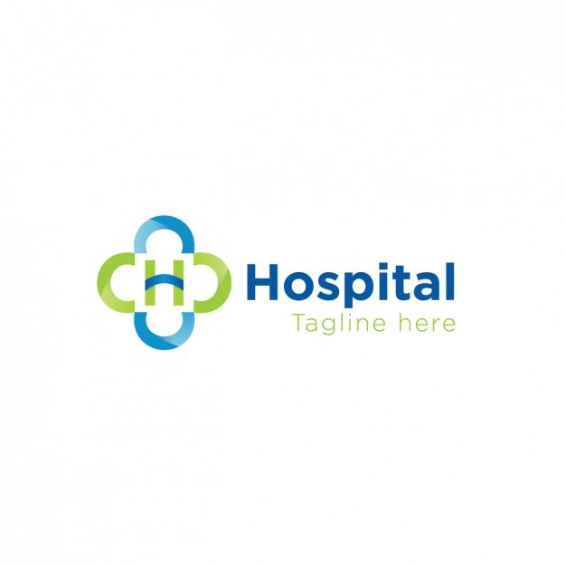 Hospital logo in green and blue Free Vector
