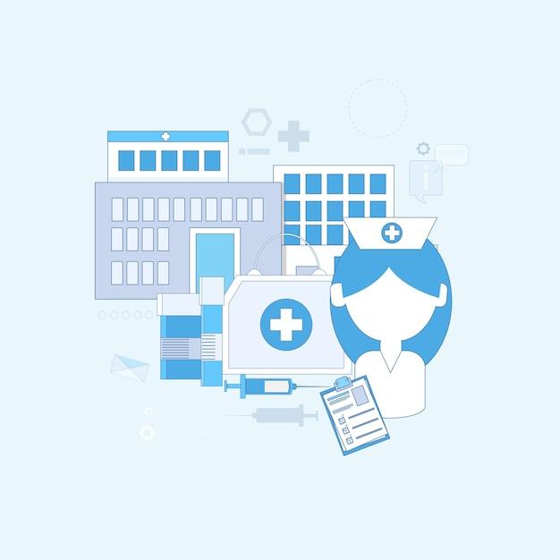 Hospital medical application health care medicine online web banner thin line vector illustration Premium Vector