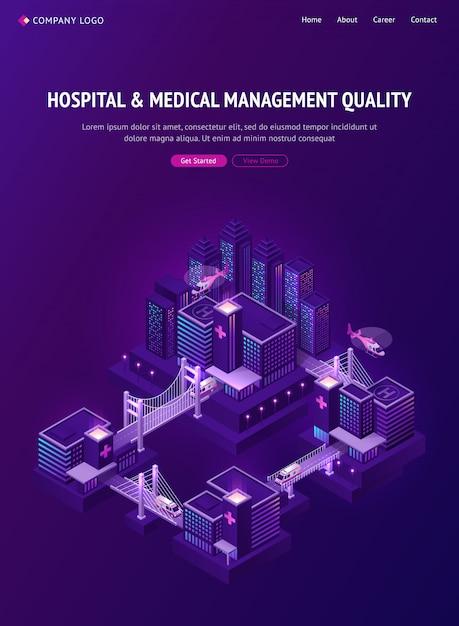 Gestione ospedaliera e medica in una città intelligente Vettore gratuito